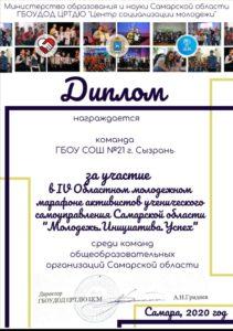 Поздравляем активистов нашей школы и куратора Давыдову А. А. !